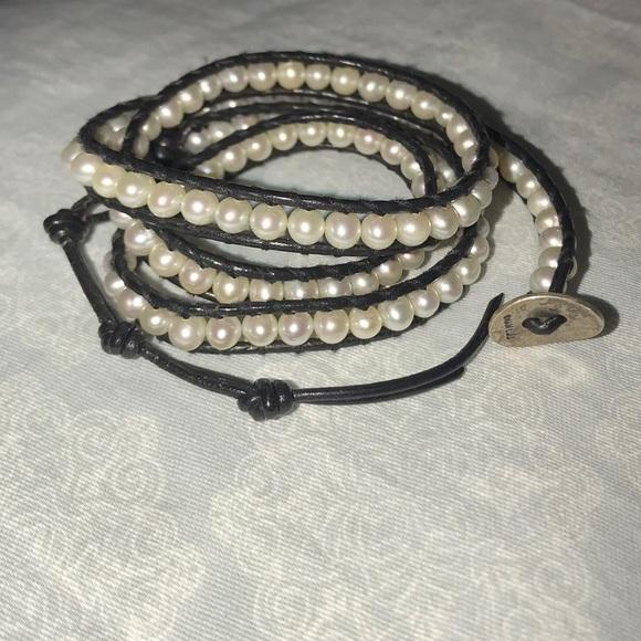 429f34307b71c Chan Luu White Pearl Wrap Bracelet Black Leather